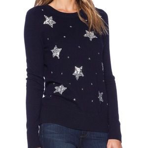 Kate Spade Constellation Sequin Star Navy Sweater